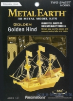 MMS049-G Metal 3D puzzle Gold Golden Hind